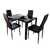 Black Glass Dining Set With Four Montero Chairs