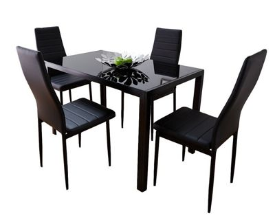 Roma Black Glass Dining Table With Four Montero Chairs