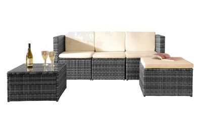 Comfy Living Rattan Garden Furniture Corner Sofa With Glass Top Table And  Rain Cover In Grey