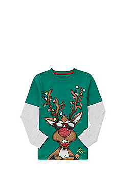 F&F Reindeer Long Sleeve Christmas T-Shirt - Green