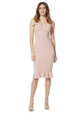 AX Paris Strappy Off the Shoulder Bodycon Dress Pink 10