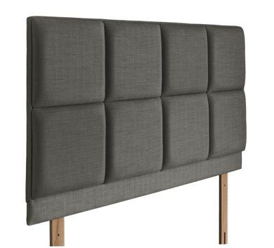 Swanglen Turin Gem Fabric Headboard with Wooden Struts - Slate - Single 3ft