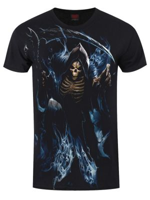 Spiral Ghost Reaper Men's T-shirt, Black.