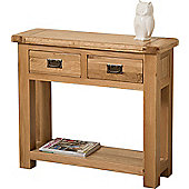 Cottage Solid Oak 2 Drawer Console Table Hallway Furniture