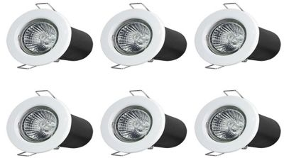 6 x Starmo White Fire Rated Mains GU10 Ceiling Lights Spotlights Downlights