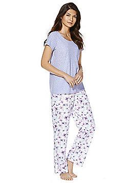 F&F Butterfly Print Jersey Pyjamas - Purple