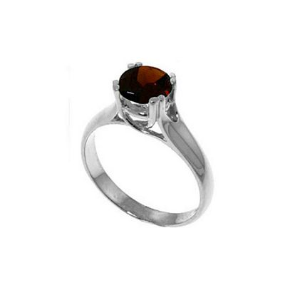 QP Jewellers 1.10ct Garnet Solitaire Ring in Sterling Silver - Size B 1/2