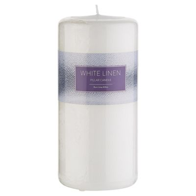 White Linen Pillar Candle