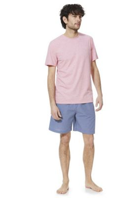 F&F Marl T-Shirt and Fine Check Shorts Loungewear Set Pink 2XL