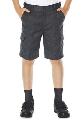 F&F School 2 Pack of Boys Combat Shorts 4-5 years Light grey