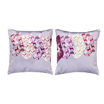 Xmas Design Extra Soft Luxury Velvet Twin Cushion Sets of Two