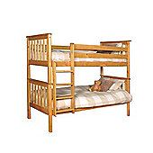 Comfy Living 3ft Single Children's Shaker Bunk Bed in Caramel with 2 Sprung Mattresses