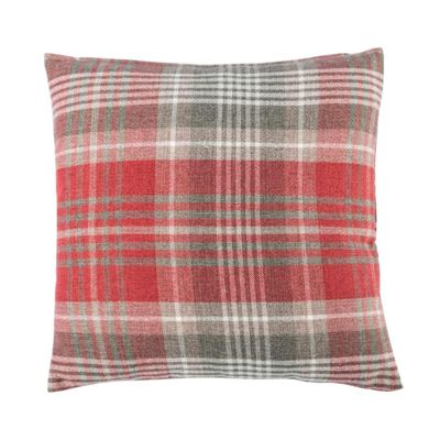 Homescapes Red Tartan Woven Check Cushion Cover, 45 x 45 cm