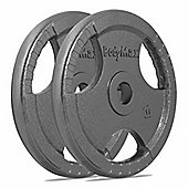 Bodymax Olympic Cast Iron Tri-Grip Weight Disc Plates - 2 x 20kg