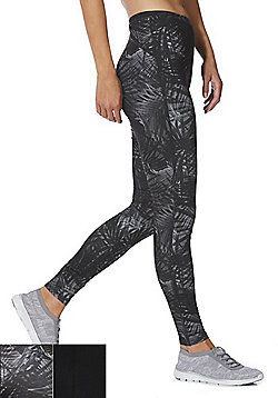F&F Active 2 Pack of Plain and Palm Print Leggings - Black
