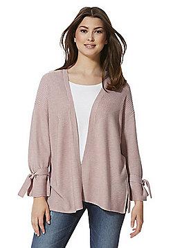 F&F Tie Sleeve Open Front Cardigan - Dusky pink