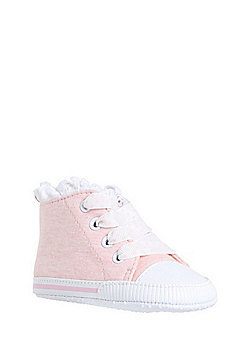 F&F Lace Trim High Top Trainers - Pink & White