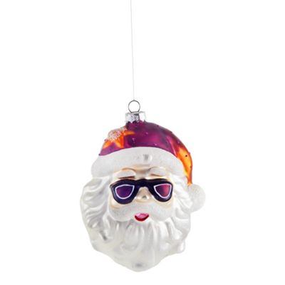 Large Santa in Sunglasses Glass Bauble with Pink Hat