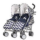 Obaby Leto Plus Twin Stroller with Footmuffs - ZigZag Navy