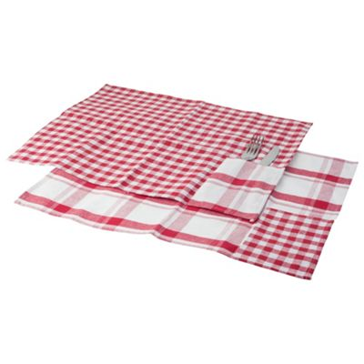 6 x Red & White Gingham & Checked Dining Placemats