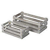 Parlane Set of Two Shabby Chic Wooden Crates - 10 x 27.5cm