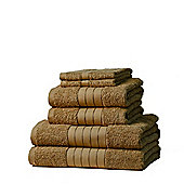 Dreamscene Luxury Egyptian Cotton 6 Piece Bath Towel Set - Beige