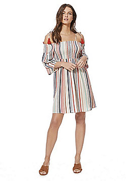 F&F Shirred Cold Shoulder Striped Dress - Multi