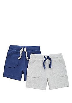 F&F 2 Pack of Pique Jersey Sweat Shorts - Grey & Blue