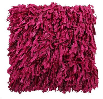 Cranberry Shaggy Funky Cushion For Bed Couch Decor
