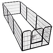 PawHut Dog Pet Puppy Metal Playpen Play Pen Hutch Run Enclosure Foldable Black 80 x 100 cm (Large)