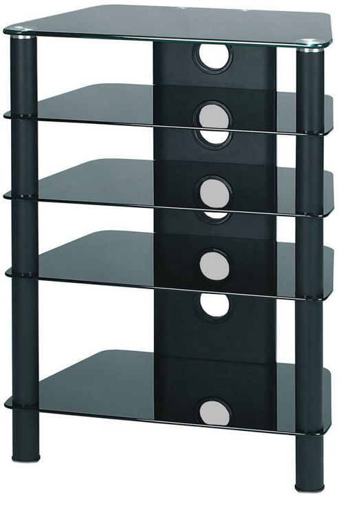 Demagio HiFi Stand with Black Glass and Black Legs