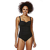 F&F Shaping Swimwear Petite Illusion Ruched Swimsuit - Black