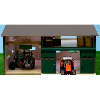 1:16 Wooden Farm Shed for Two Tractors