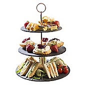 Occasion Slate Adjustable 3 Tier Cake Stand with Rose Gold Handle for Serving Food 28x 24x 20cm