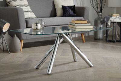 Arizona Chrome Metal And Clear Glass Coffee Table