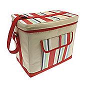 Country Club Jumbo Cooler Bag, Cream & Multi Stripe, Red 36x22x32cm