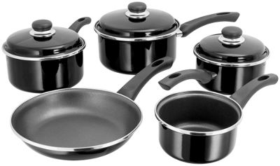 Judge Enamel Non-Stick Saucepan Frying Pan Frypan Set 5 Piece Black