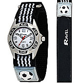 Boys Black and White Football Velcro Strap Watch
