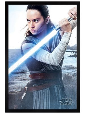 Star Wars The Last Jedi Black Wooden Framed Rey Engage Poster 61 x 91.5cm
