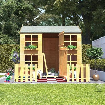 7x5 BillyOh Gingerbread Max Children Wooden Playhouse - Premium with Bunk and 2ft Picket Fence