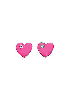 Girl's Bright Pink Heart Stud Earrings