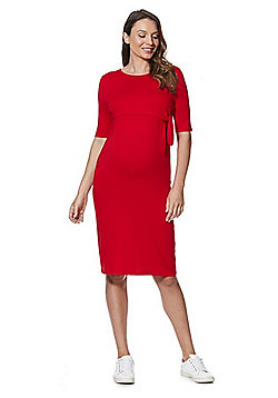 F&F Double Layer Knot Front Maternity Dress - Red