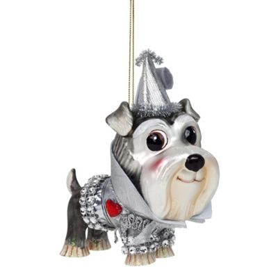 Wizard of Oz Tin Man Dog Glass Christmas Tree Bauble