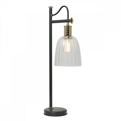 Black/Polished Brass Table Lamp - 1 x 60W E27