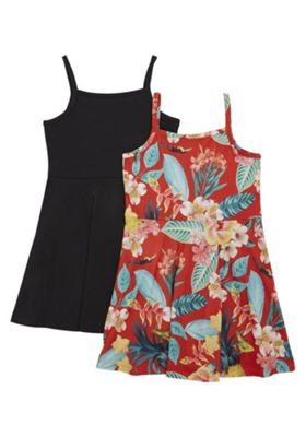 F&F 2 Pack of Tropical Print and Plain Dresses Multi 5-6 years