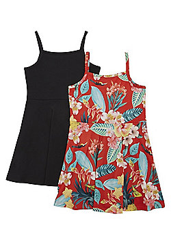 F&F 2 Pack of Tropical Print and Plain Dresses - Multi