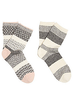 F&F 2 Pair Pack of Striped and Fair Isle Thermal Socks - Grey & Cream