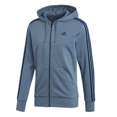 adidas Essential 3 Stripe Mens Full Zip Hoodie Hoody Jacket Blue - M