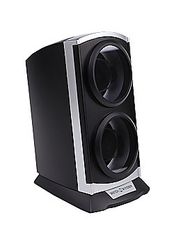 Time Tutelary Automatic Vertical Tower Double Watch Winder Silver BlackKA015