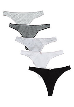F&F 5 Pack of Patterned and Plain Thongs with As New Technology - Black